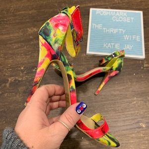 Charlotte Russe Strappy Floral Heels Size 7